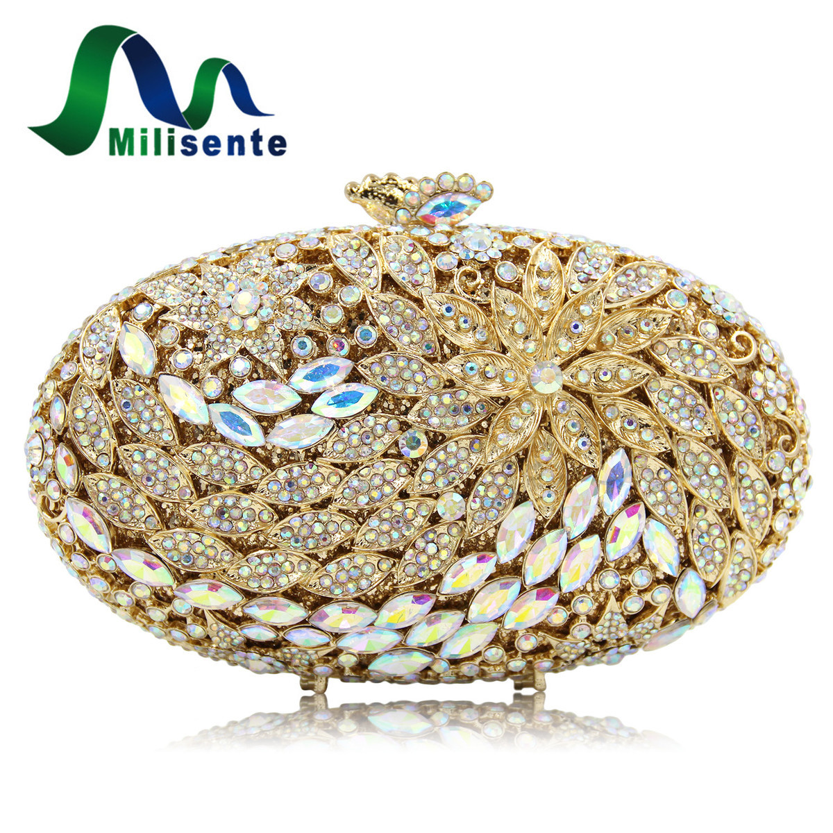 Milisente Women Crystal Clutch Bag Gold Evening Bags Lady Diamond Wedding Clutches Female Party Purses 2017 lady hot sale black gold white silver clutch women elegant v diamond design wedding handbag female party bag evening bags