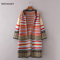 Weinsky Women Vintage Style Knitted Long Sweaters And Cardigans Ladies Autumn And Winter 2018 Fashion Striped Sweaters Coat