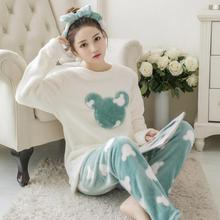 Flannel Pyjamas Women Winter Pajamas For Women Long Sleeve Cartoon Printed Sleep