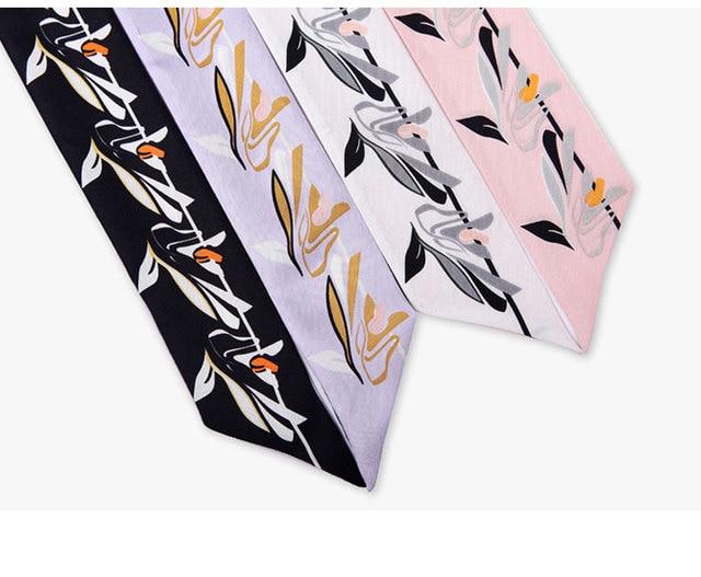 Lily imprimer longue écharpe étroite en soie naturelle tour de cou dame bandeau sac bandeau ruban foulards multi-fonction livraison directe KZSBD35