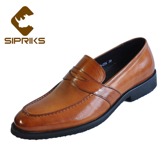 Sipriks Big Size 37 45 Retro Genuine Leather Penny Loafers Classic Slip On  Casual Leather Shoes Topsiders Flats British Style 44 74e3150b1ade