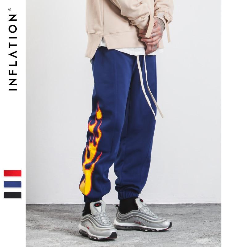 L'INFLATION 2017 Nouveau Automne Hommes Pantalon Côté Bande Jogger Pantalon Impression Taille Élastique Vintage Casual Hommes Pantalon 358W17