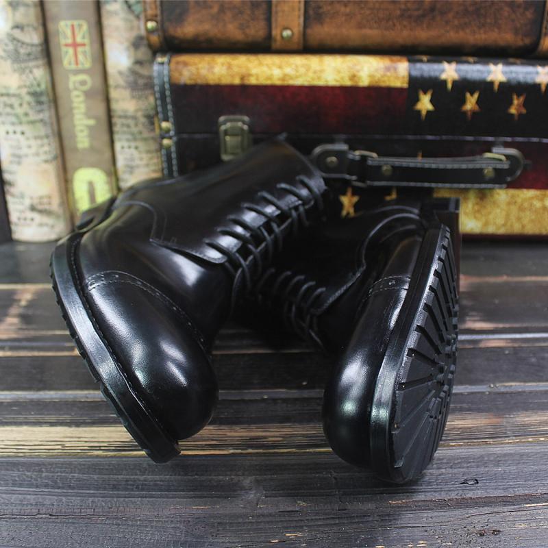 Sipriks hommes de luxe conception de grandes bottes à bout rond importé italien en cuir de veau robe cheville bottes noir haut à lacets botte de Cowboy - 6