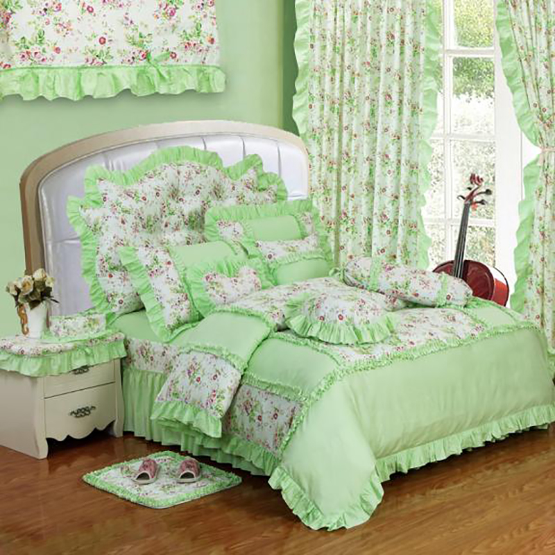 Green cotton princess style red bedding set 4pcs lace ruffles duvet cover bedspread bed skirt - Twin size princess bed set ...