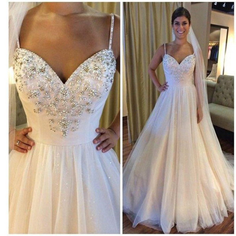 f477f155dd7 long wedding gowns 2017 new sexy v-neck spaghetti strap luxury beaded  design wedding dress robe de mariage vestido noiva