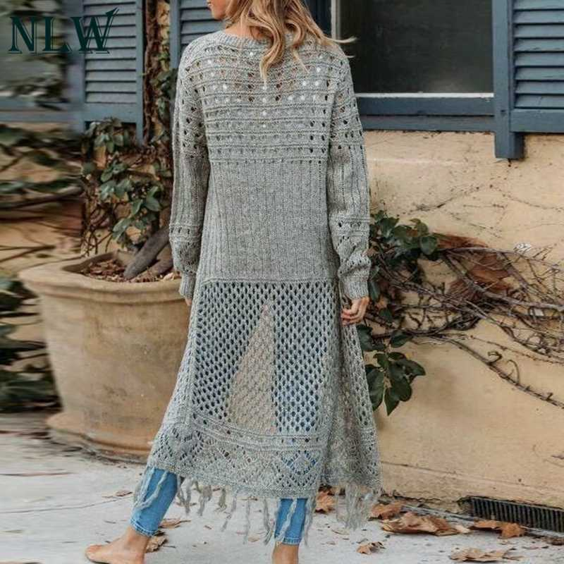 NLW Повседневный женский свитер кардиган однотонный Зимний вязаный кардиган шикарная длинная трикотажная одежда с кисточками кардиганы джемперы