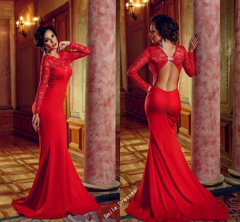 fec83e84ac Red Elegant Long Sleeve Prom Dresses 2015 Sexy Lace Mermaid Evening Dress  Elie Saab Burgundy Cheap Formal Party Gown Plus Size