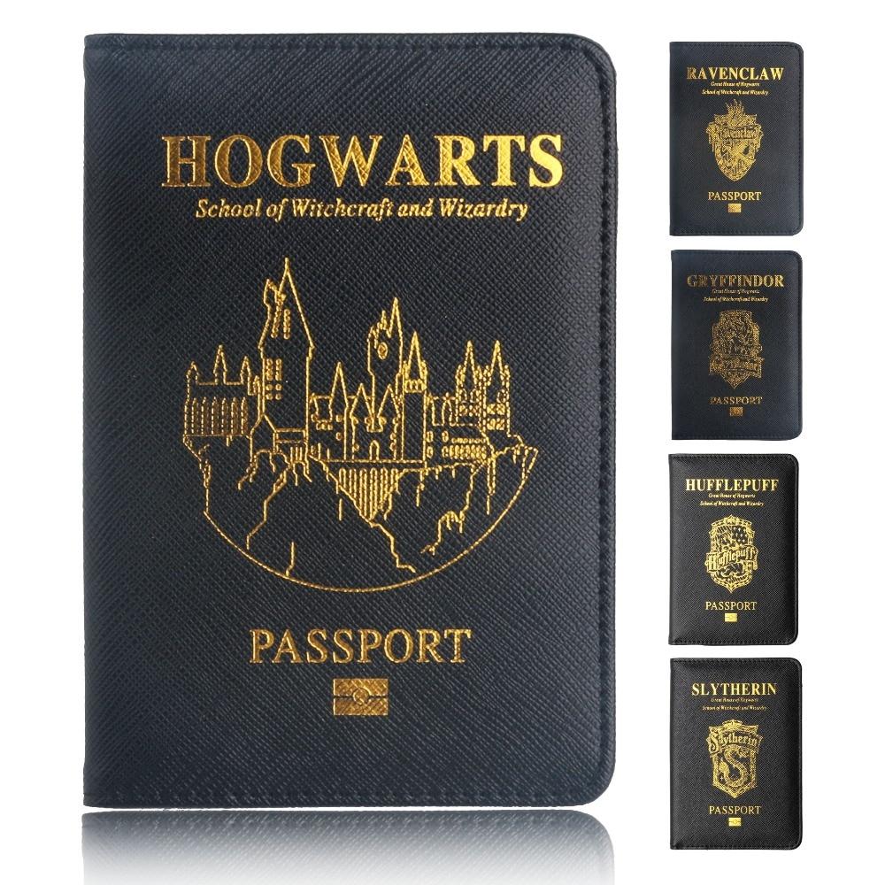 TRASSORY Multifunctional Rfid Blocking Harry Potter Passport Cover Leather Hogwarts Gryffindor Ravenclaw Passport Holder Case gorras planas de fortnite