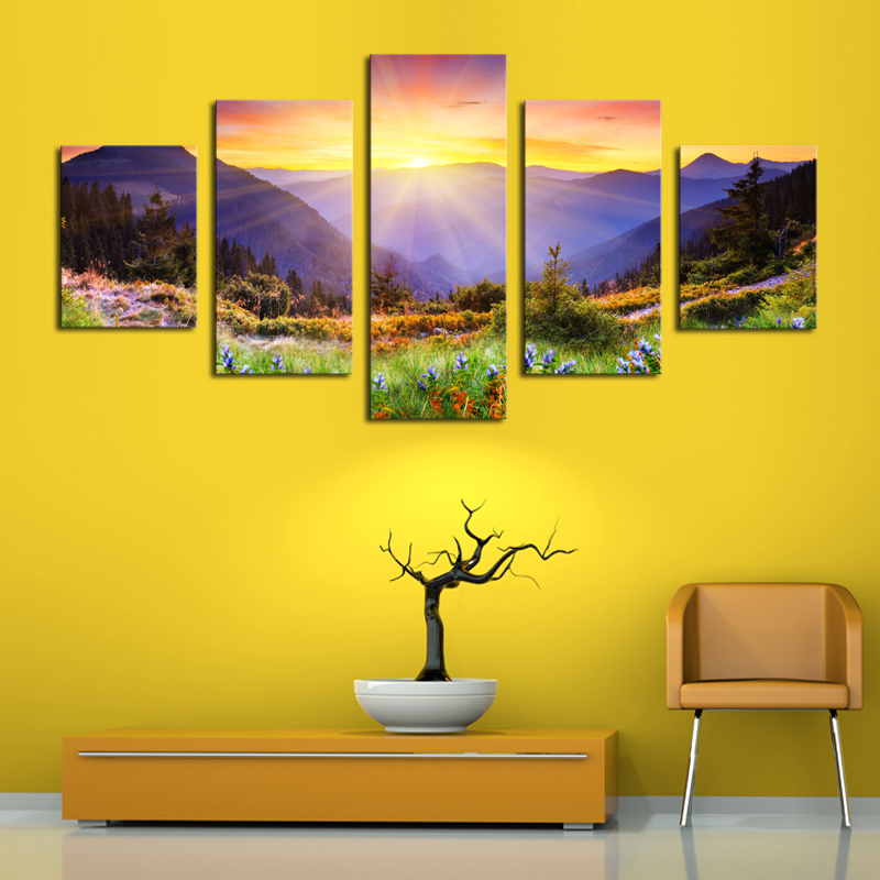 Unframed 5 Panels Modern Colorful Hill HD Picture Canvas ...