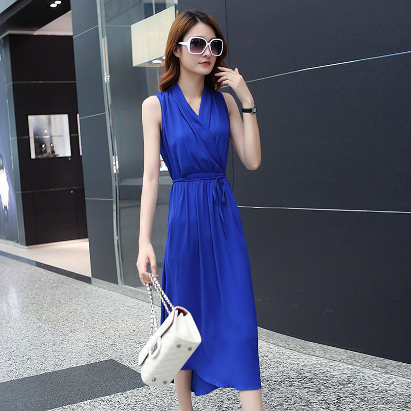 Sleeveless V-Neck Chiffon Dress Women Sundress Vestidos Elegant Summer Dress 2018 Lace Up Long White Beach Dress Jurken C3244
