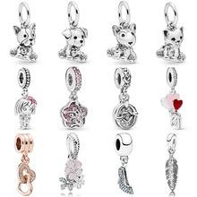 Hot Sale Silver Beads Dog Flower Leaves Glaze Crystal Pendants Bead For 925 Original Pandora Charm Bracelets & Bangles Jewelry