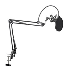 Neewer Microphone Suspension Boom Scissor Arm Stand with Mic Clip Holder and Table Mounting Clamp Kit