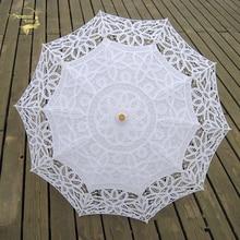 Модный зонт от солнца с кружевами, зонтик с вышивкой для невесты, белый и слоновой кости, Свадебный зонтик, Ombrelle Dentelle Parapluie Mariage
