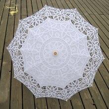 الدانتيل مظلة الشمس المظلة التطريز العروس مظلة بيضاء العاج الزفاف مظلة Ombrelle دنتيل Parapluie Mariage ديكور