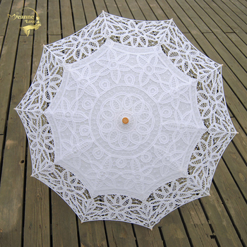 Lace Sun Umbrella Parasol Embroidery Bride Umbrella White Ivory Wedding Umbrella Ombrelle Dentelle Parapluie Mariage Decorative