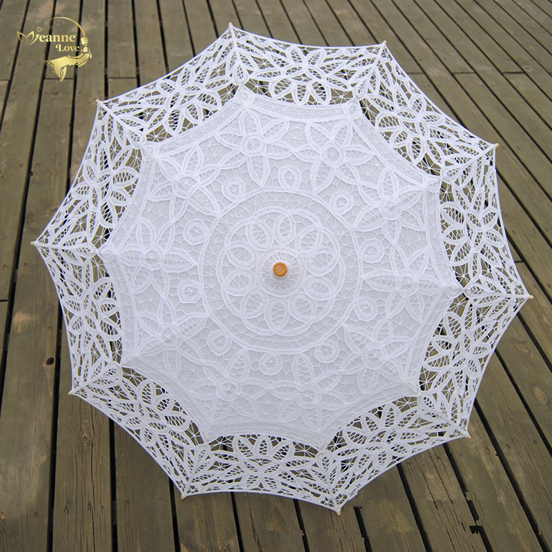 New Fashion Lace Sun Umbrella Parasol Embroidery Bride Umbrella White Ivory Wedding Umbrella Ombrelle Dentelle Parapluie Mariage