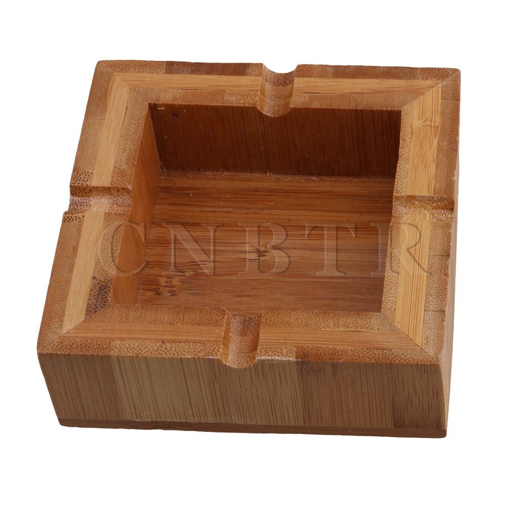 BQLZR 10cm Bamboo Square Cigarette Ashtray Ashes Tray Smoking Cigar Holder
