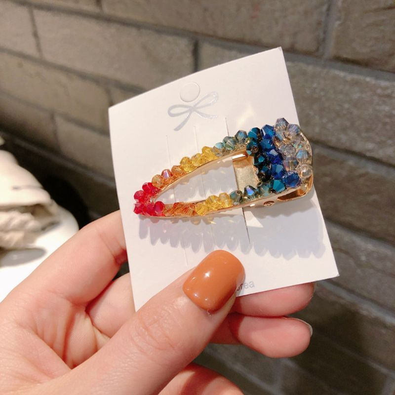 Korean Girl Student Side Bangs Duckbill Hair Clips Imitation Crystal Rainbow Colored Beading Hairpins Women Summer Barrettes in Women 39 s Hair Accessories from Apparel Accessories
