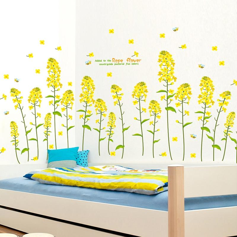 canola flower kids room wall stickers nursery school classroom class ...