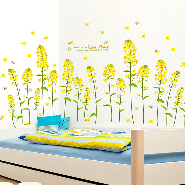 canola flower kids room wall stickers nursery school classroom class ...