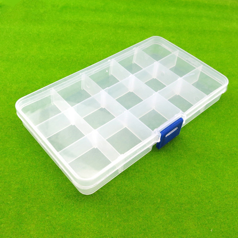 J035b Rectangle Transparent Parts Storage Box 15 Mobil Grid Storage Parts And Screws DIY Use