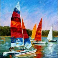 Hand painted landscape oil pictures canvas large wall painting catamaran pop art for living room decor