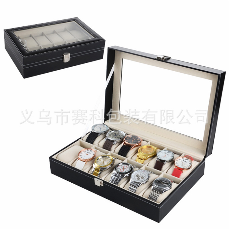 купить New Luxury 12 Grid Box leather watch watch box, Jewelry Display Storage Holder Box Collection Organizer Caixa Alarm Clock онлайн