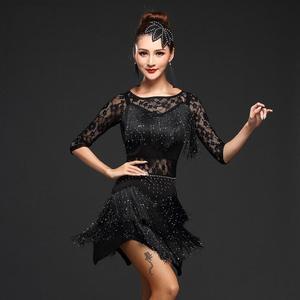 Image 5 - New 2018 Women Competition Dance Clothes Sequins Costume Set Fringe Salsa Dresses Ballroom Dance Ladies Latin Dress