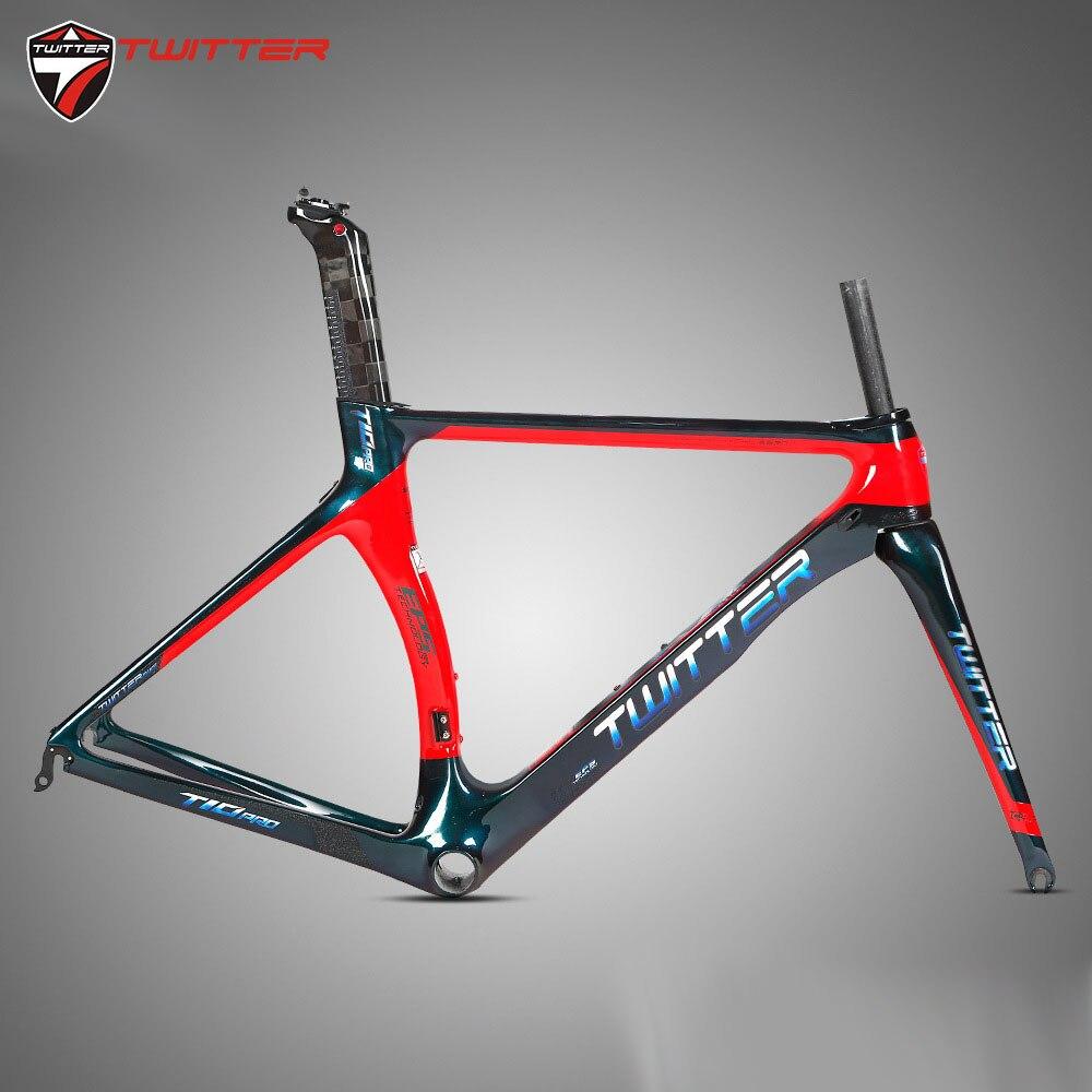 Twitter T10pro Discolor 700c carbone cadre de route vélo ultra-léger 18K carbone cadre route vélo carbone fourche tige de selle course cyclisme
