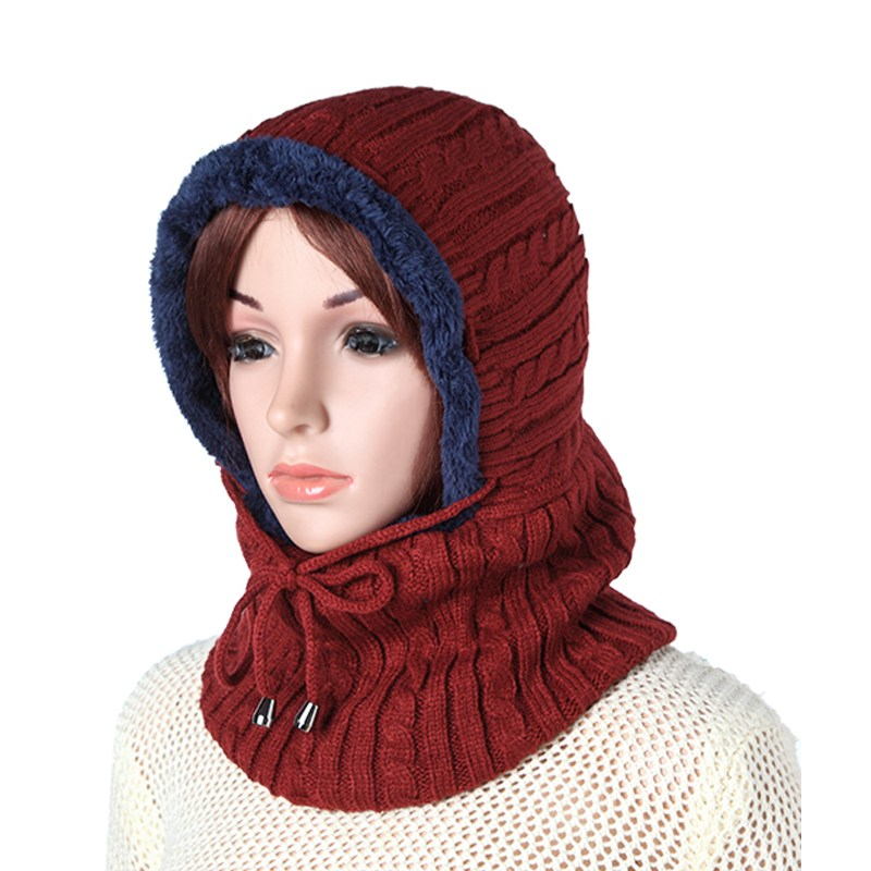 Plush Knitted Hooded Neck Warmer Cap For Women Mens