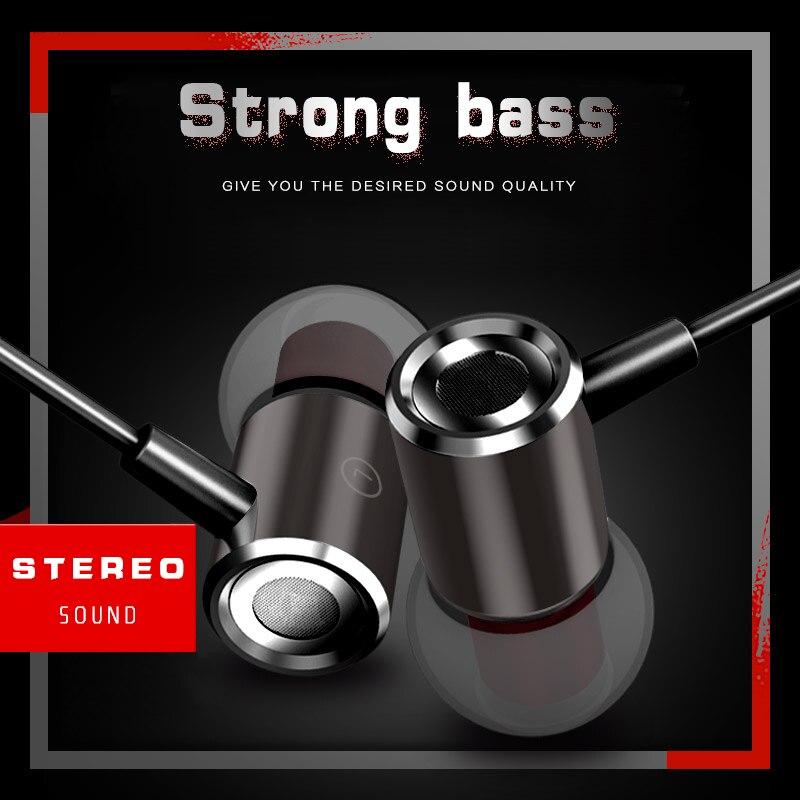 Magnetic Earphone Brand In-Ear 3.5mm Wired Earphones Metal Heavy Bass Music Hifi Headset Mic Earbud for iPhone Samsung Huawei
