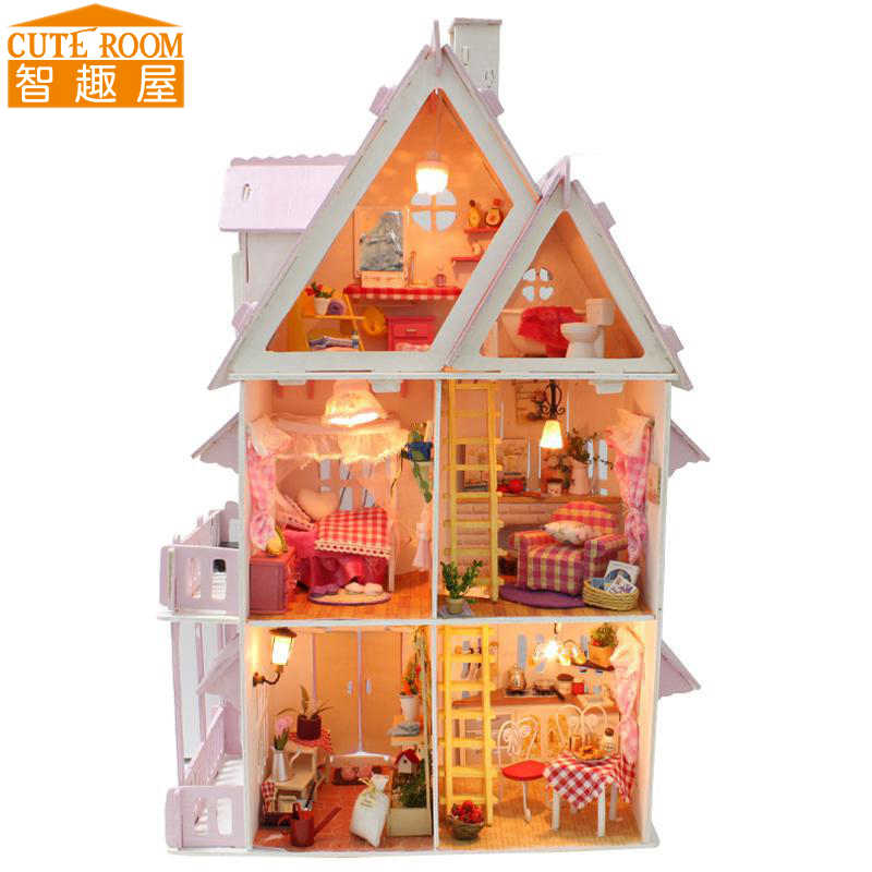 CUTE ROOM DIY Wooden House Miniaturas with Furniture DIY Miniature House Dollhouse Toys for Children Christmas and Birthday X01