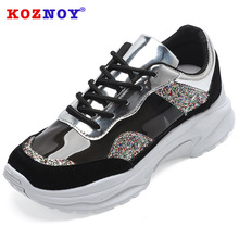 Koznoy Sneakers Women Summer Color Drill Matching Dropshipping Thick Bottom Bright Fashion Breathable White Shoes
