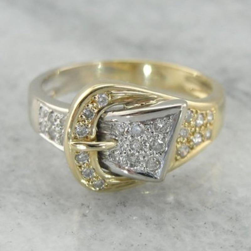 Novo anel de cinto brilhante para as mulheres de luxo ouro amarelo anel de casamento jóias minúsculas cz pavimentado zircônia cúbica pedra acessórios anel anel anel anel anel anel anel anel