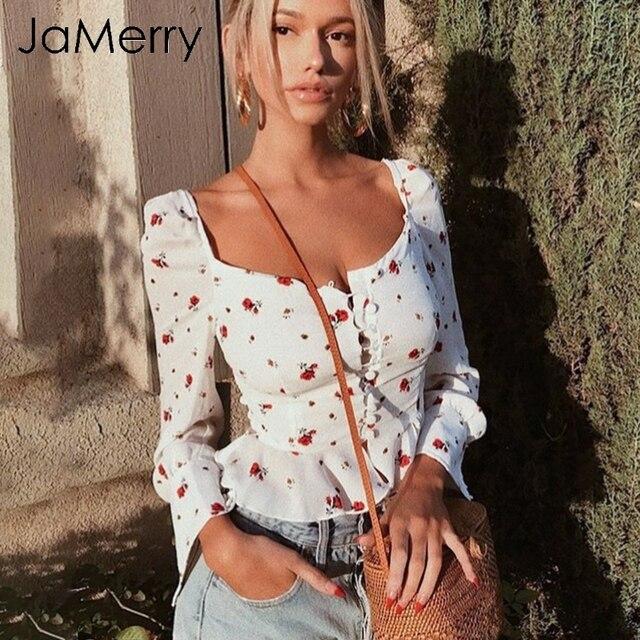 JaMerry elegancka biała bluzka koszule damskie 2019 w stylu Vintage kwiat wydruku bluzka, topy, lato, na co dzień ruffles krótkie topy blusas kobiet