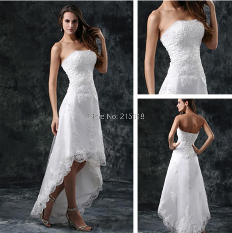 Summer high low wedding dresses lace strapless appliques for Strapless sparkly wedding dresses