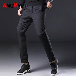 Image 5 - Homem inverno para baixo calças masculinas de pato branco para baixo calças de homem streetwear inverno engrossar quente preto bolsos casuais dos homens para baixo