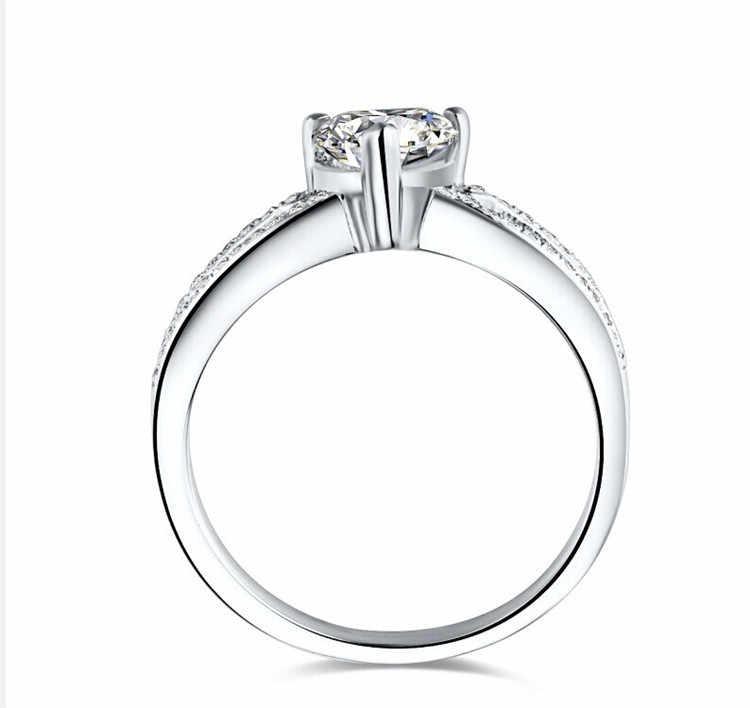 Großhandel Preis 1CT Herzform Versprechen Liebe Für Immer SONA Simulieren Herz Diamant Ring für Ihre Mädchen Sterling Silber Ring Schmuck