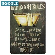 [SQ-DGLZ] baño reglas date prisa cartel metal Retro Decoración de pared para tienda Vintage Artesanía de metal Decoración de casa pintura placas de arte cartel