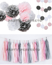 26xNew mixed sizes White Pink Gray asst color tissue paper bunting pom poms wedding party wall hanging decorative banner garland metallic color cheerleader pom poms w plastic handle deep pink