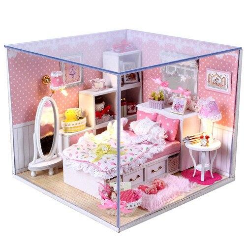 Lovely 3D DIY Handmade Dolls House Princess Room With Furniture Doll Family 2 LED  Light Angelu0027s Dream