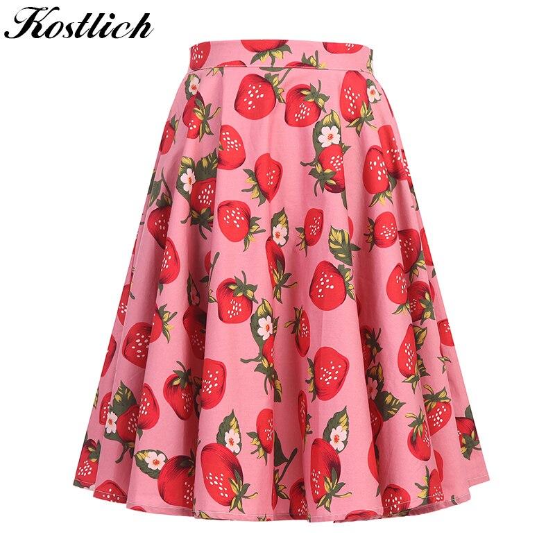 Kostlich Strawberry Print 2018 Summer Women Skirt Cotton High Waist Big Swing Skirts Womens Hepburn Style 50s Vintage Midi Skirt