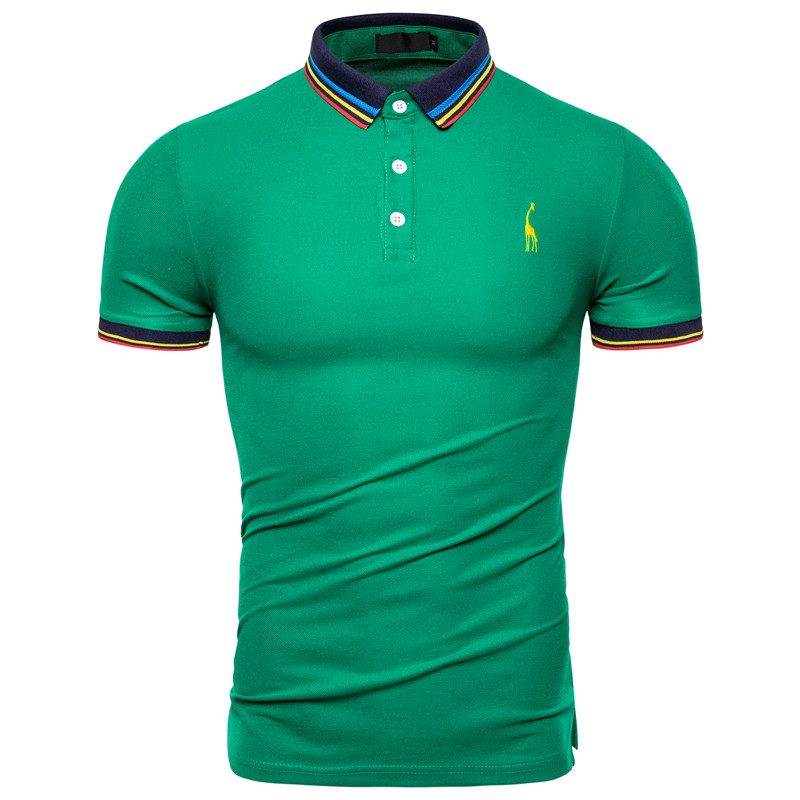 2019 Brand Giraffe   Polo   Shirt Men Solid Slim Fit Short Sleeve Cotton   Polos   Men Smart Casual Patchwork Mens   Polo   US Size S-2XL