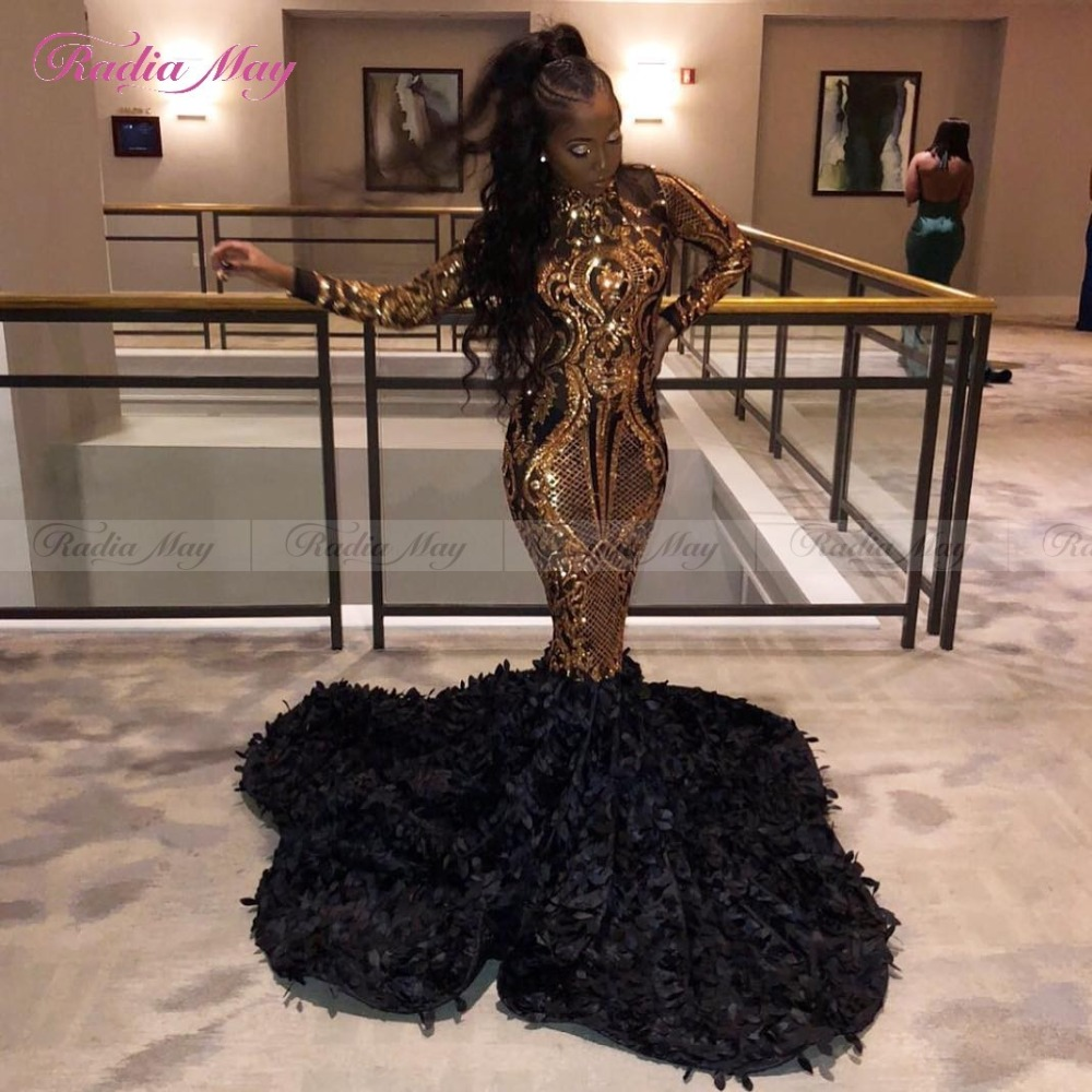 Luxury Gold Sequin Black 3D Floral African Prom Dresses Mermaid Long Sleeves High Neck Court Train