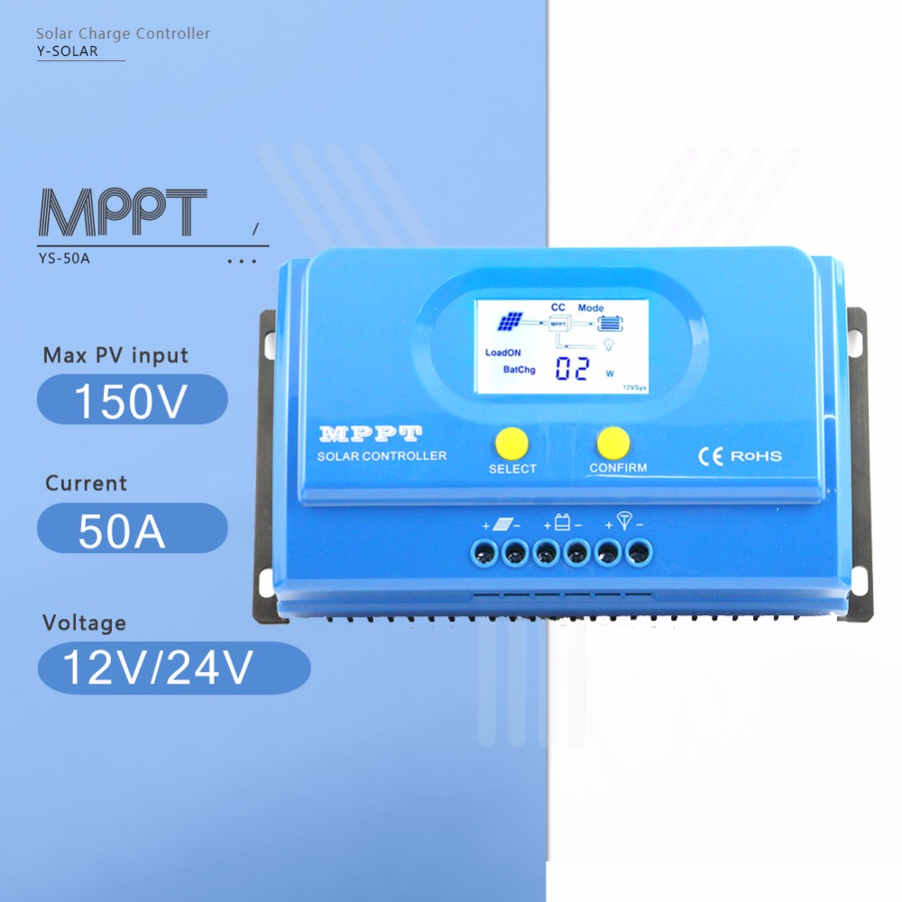 MPPT YS-50A Solar Charge Controller 12/24V Auto Solar Battery Charge Regulator with LCD Display Auto cool and Dual USB Output 5V auto cool
