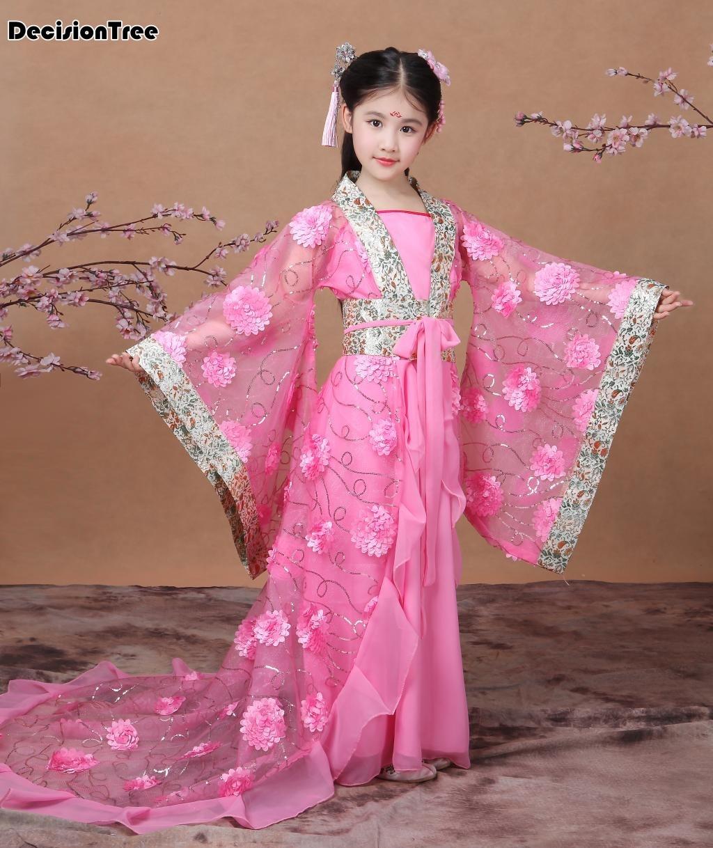 Новинка 2019 года розовый Древний китайский традиционный обувь для девочек hanfu костюмы косплэй платья вечеринок династии Тан костюмы