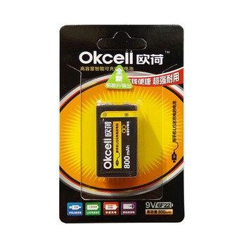 JRGK OKcell 9V 800mAh para RC, pieza de helicóptero, batería de Lipo recargable USB para RC, helicóptero, modelo de micrófono