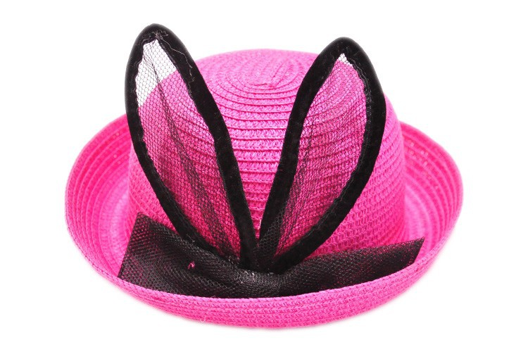 Летние девушки Шапки дети милый кролик уха шапки Дети защиты от солнца пляжная шляпа девушки шапки для летних соломы ninos сомбреро YY0308