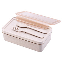 Wheat Straw Lunch Box Microwave Bento Box Quality Health Student Portable Food Storage Leakproof Lunch Box With Spoons Forks