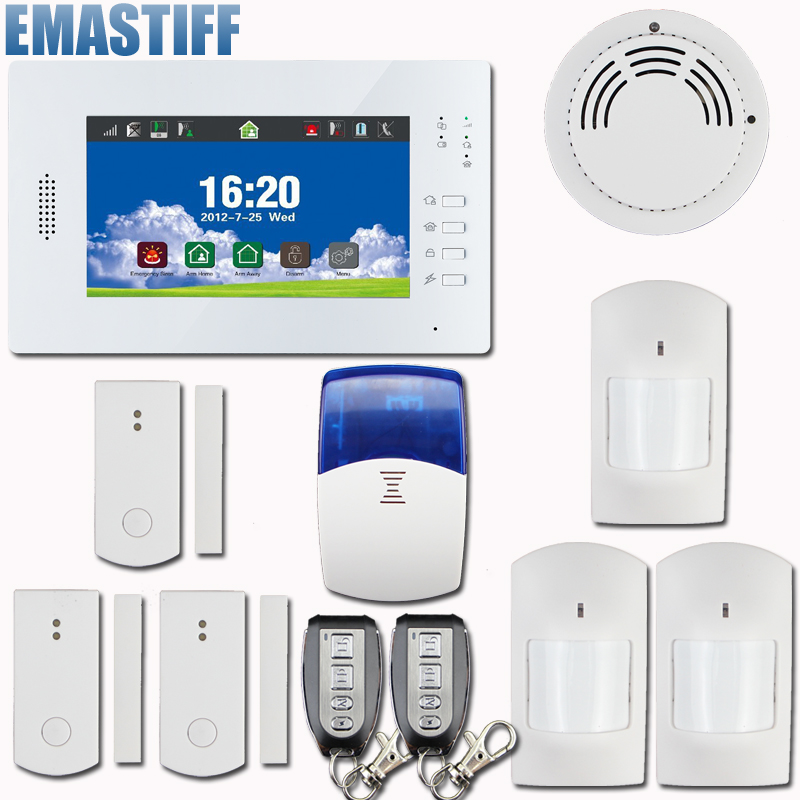 Smart 7 Inch Touch Screen Wireless GSM PSTN Alarm System Security Home Burglar Intelligent 868MHz, smoke sensor,wireless siren 868mhz wireless gsm alarm system 7 inch touch screen home alarm with bulit in lithium battery with wireless outdoor solar siren